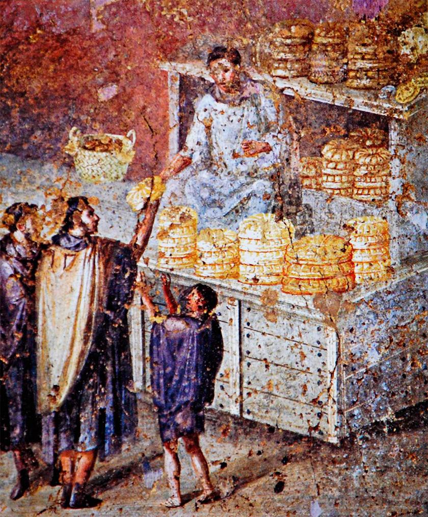 Pompei'de bir ekmek fırınını gösteren fresk.