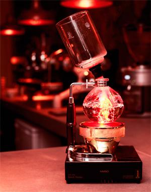 Coffee syphon (kahve sifonu) yöntemi.